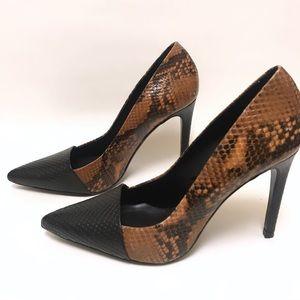 Zara Brown And Black Snakeskin High Heels size 11
